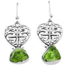 8.95cts natural green raw peridot crystal silver dangle earrings r65953