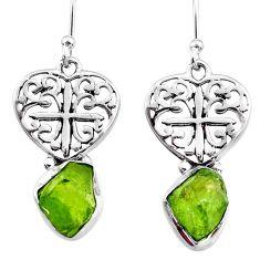 8.78cts natural green raw peridot crystal silver dangle earrings r65955