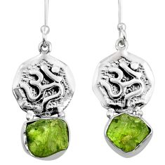 10.91cts natural green raw peridot crystal silver dangle earrings r65957