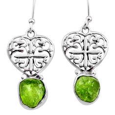 8.80cts natural green raw peridot crystal silver dangle earrings r65958