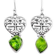 8.76cts natural green raw peridot crystal silver dangle earrings r65960
