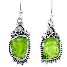 8.80cts natural green raw peridot crystal silver dangle earrings r65961