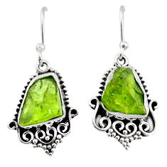 9.23cts natural green raw peridot crystal silver dangle earrings r65963