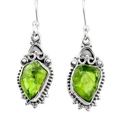 8.09cts natural green raw peridot crystal silver dangle earrings r65966