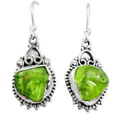 8.57cts natural green raw peridot crystal silver dangle earrings r65970