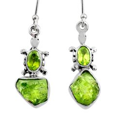 8.99cts natural green raw peridot crystal silver dangle earrings r65972
