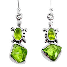 8.76cts natural green raw peridot crystal silver dangle earrings r65976