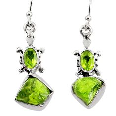 8.61cts natural green raw peridot crystal silver dangle earrings r65980