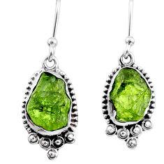 7.33cts natural green raw peridot crystal silver dangle earrings r65981