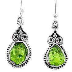 8.15cts natural green raw peridot crystal silver dangle earrings r65987