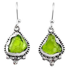 7.75cts natural green raw peridot crystal silver dangle earrings r65988