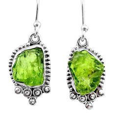 7.77cts natural green raw peridot crystal silver dangle earrings r65989