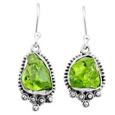 8.47cts natural green raw peridot crystal silver dangle earrings r65993