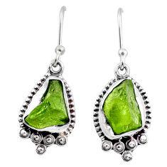 7.66cts natural green raw peridot crystal silver dangle earrings r65994