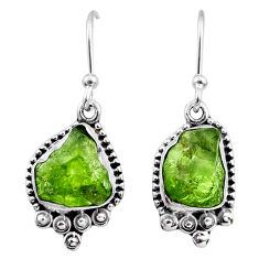 7.39cts natural green raw peridot crystal silver dangle earrings r65995