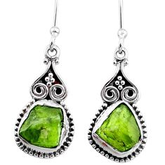 7.66cts natural green raw peridot crystal silver dangle earrings r65996