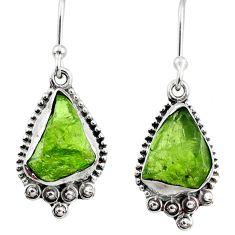7.94cts natural green raw peridot crystal silver dangle earrings r65999
