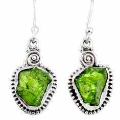9.37cts natural green raw peridot crystal silver dangle earrings r66001