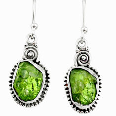 8.03cts natural green raw peridot crystal silver dangle earrings r66002