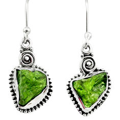 8.51cts natural green raw peridot crystal silver dangle earrings r66003