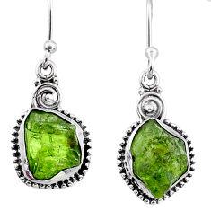 9.39cts natural green raw peridot crystal silver dangle earrings r66005