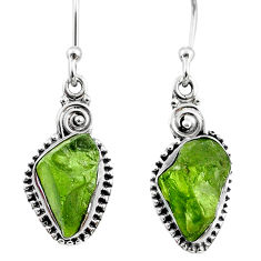 8.93cts natural green raw peridot crystal silver dangle earrings r66006