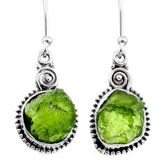 9.83cts natural green raw peridot crystal silver dangle earrings r66009