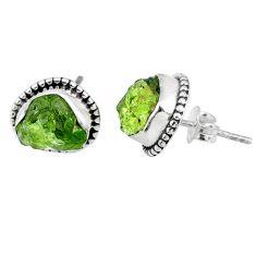 8.12cts natural green raw peridot crystal silver dangle earrings r66017