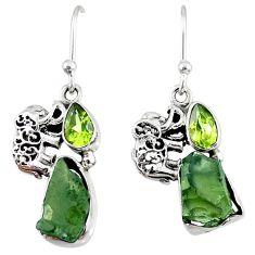 9.29cts natural green moldavite (genuine czech) silver elephant earrings r57291