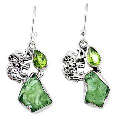 8.80cts natural green moldavite (genuine czech) silver elephant earrings r57292