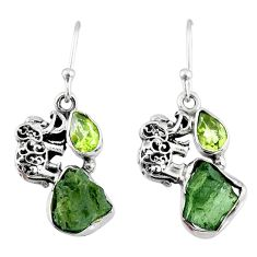 8.78cts natural green moldavite (genuine czech) silver elephant earrings r57293