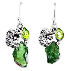 8.89cts natural green moldavite (genuine czech) silver elephant earrings r57295