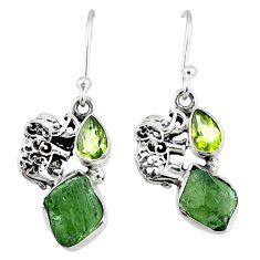 8.51cts natural green moldavite (genuine czech) silver elephant earrings r57297