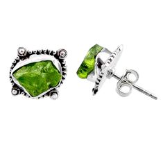 7.96cts natural green raw peridot crystal silver stud earrings r66021
