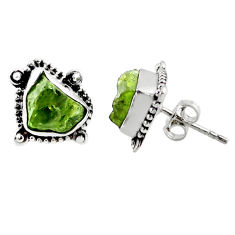 8.51cts natural green raw peridot crystal silver stud earrings r66025
