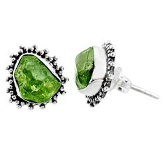7.96cts natural green raw peridot crystal silver stud earrings r66029