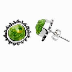 9.39cts natural green raw peridot crystal silver stud earrings r66031