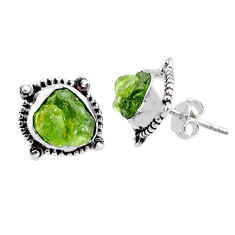 8.87cts natural green raw peridot crystal silver stud earrings r66036