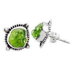 8.51cts natural green raw peridot crystal silver stud earrings r66040
