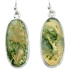 18.54cts natural green moss agate 925 sterling silver dangle earrings d47544