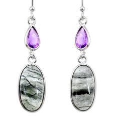 11.28cts natural green moss agate amethyst 925 silver dangle earrings r68305