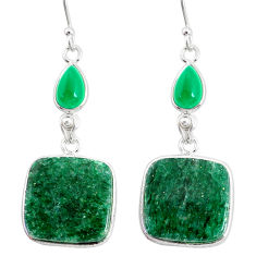 22.81cts natural green moss agate chalcedony 925 silver dangle earrings r86761