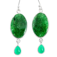 20.40cts natural green moss agate chalcedony 925 silver dangle earrings r86762