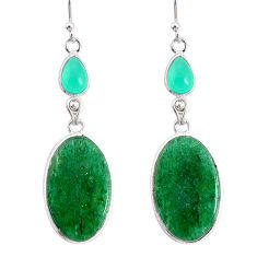 20.40cts natural green moss agate chalcedony 925 silver dangle earrings r86763