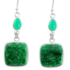 23.27cts natural green moss agate chalcedony 925 silver dangle earrings r86764