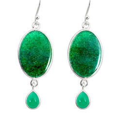 17.96cts natural green moss agate chalcedony 925 silver dangle earrings r86766