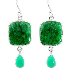 19.73cts natural green moss agate chalcedony 925 silver dangle earrings r86767