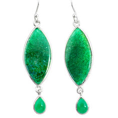 21.01cts natural green moss agate chalcedony 925 silver dangle earrings r86769