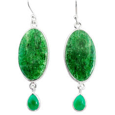 19.73cts natural green moss agate chalcedony 925 silver dangle earrings r86770