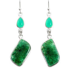 18.39cts natural green moss agate chalcedony 925 silver dangle earrings r86771